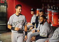 May 7, 2010; Phoenix, AZ, USA; Milwaukee Brewers outfielder (8) Ryan Braun with first baseman Prince Fielder in the dugout against the Arizona Diamondbacks at Chase Field. The Brewers defeated the Diamondbacks 3-2. Mandatory Credit: Mark J. Rebilas-