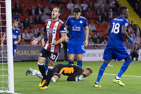 Billy Sharp of Sheffield United shows his frustration during the Carabao Cup match between Sheffield United and Leicester City at Bramall Lane, Sheffield, England on 22 August 2017. Photo by James Williamson / PRiME Media Images.