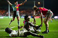 Elia Elia of Harlequins scores a try in the second half. European Rugby Champions Cup match, between Harlequins and Wasps on January 13, 2018 at the Twickenham Stoop in London, England. Photo by: Patrick Khachfe / JMP