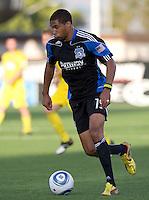 Ryan Johnson of the Earthquakes in action during the game against the Crew at Buck Shaw Stadium in Santa Clara, California on June 2nd, 2010.  San Jose Earthquakes tied Columbus Crew, 2-2.