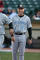 2007:  Doug Davis of the Syracuse Chiefs smiles during introductions prior to a game vs. the Rochester Red Wings in International League baseball action.  Photo By Mike Janes/Four Seam Images