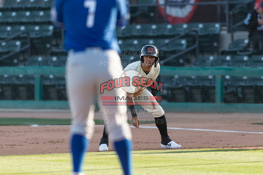 Visalia Rawhide designated hitter Jose Caballero (7) during a California League game against the Rancho Cucamonga Quakes on April 9, 2019 in Visalia, California. Visalia defeated Rancho Cucamonga 8-5. (Zachary Lucy/Four Seam Images)