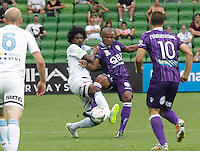 Kew Jaliens fight for the ball with Sidnei during the  A-League soccer match between Melbourne City FC and Perth Glory at AAMI Park on February 22, 2015 in Melbourne, Australia.