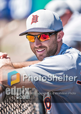 16 March 2014: Detroit Tigers infielder Stephen Lombardozzi smiles in the dugout during a Spring Training Game against the Washington Nationals at Space Coast Stadium in Viera, Florida. The Tigers edged out the Nationals 2-1 in Grapefruit League play. Mandatory Credit: Ed Wolfstein Photo *** RAW (NEF) Image File Available ***