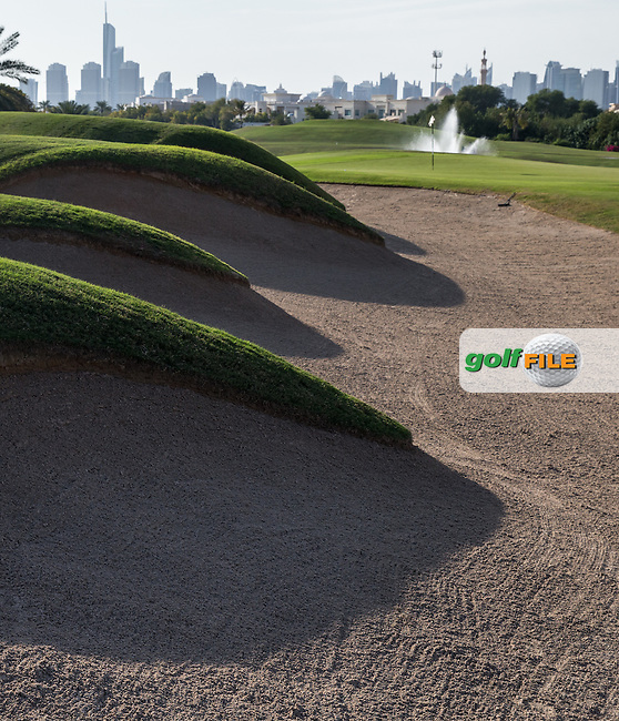 Undulating bunkers left-side of the 15th green at The Address Montgomerie Golf Club, Dubai, United Arab Emirates.  27/01/2016. Picture: Golffile | David Lloyd<br /> <br /> All photos usage must carry mandatory copyright credit (&copy; Golffile | David Lloyd)