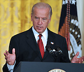 Washington, DC - January 30, 2009 -- United States Vice President Joseph Biden makes remarks as he and United States President Barack Obama  announce Labor Executive Orders and the establshment of the Middle Class Working Families Task Force in the East Room of the White House in Washington, DC on Friday, January 30, 2009.  .Credit: Ron Sachs - CNP