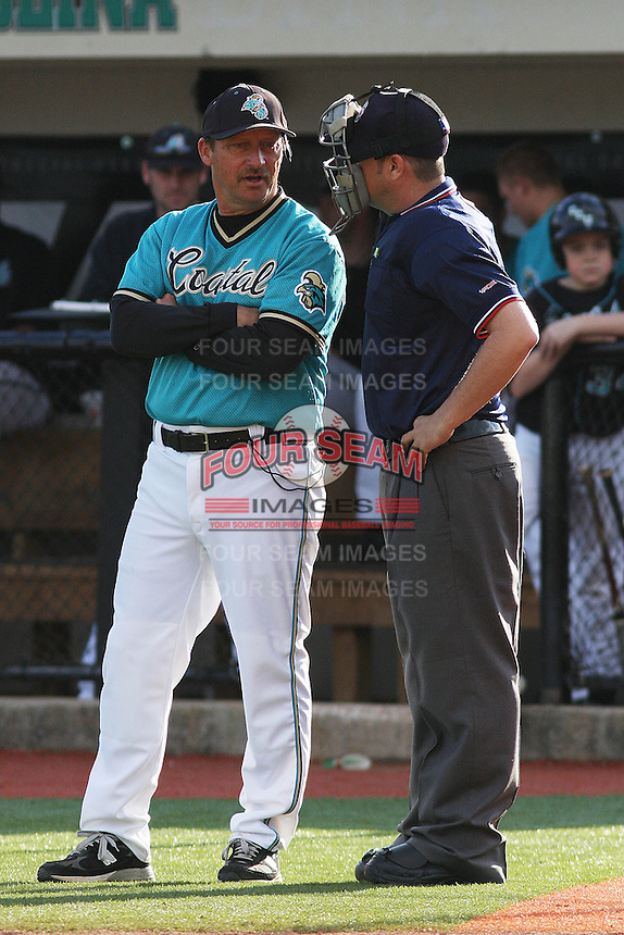 Head Coach Gary Gilmore #14 of the Coastal Carolina University Chanticleers during a game against the University of Michigan Wolverines at the Carvelle Resort Classic Tournament held at Watson Stadium at Vrooman Field in Conway, SC on March 13, 2010. Photo by Robert Gurganus/Four Seam Images