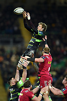 Jamie Gibson of Northampton Saints wins the ball at a lineout. Anglo-Welsh Cup match, between Northampton Saints and Harlequins on February 2, 2018 at Franklin's Gardens in Northampton, England. Photo by: Patrick Khachfe / JMP