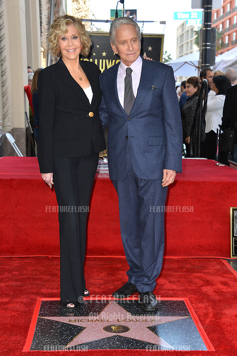 LOS ANGELES, CA. November 06, 2018: Jane Fonda & Michael Douglas at the Hollywood Walk of Fame Star Ceremony honoring actor Michael Douglas.<br /> Pictures: Paul Smith/Featureflash