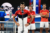 12th January 2020; Sydney Olympic Park Tennis Centre, Sydney, New South Wales, Australia; ATP Cup Australia, Sydney, Day 10; Serbia versus Spain; Novak Djokovic of Serbia makes a speech after Team Serbia defeat Team Spain to win the ATP Cup as Rafael Nadal of Spain looks on - Editorial Use