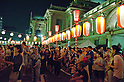 August 6th, 2011 : Tokyo, Japan - People dancing Japanese traditional Bon Dance. : Bon Dance is held at the Tsukiji Honganji every summer. Due to the conservation of electricity, this festival is supposed to be an eco bon dance.
