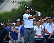Bethesda, MD - June 27, 2014: Tiger Woods follows his tee shot on hole 3 in the second round of the Quicken Loans National at the Congressional Country Club in Bethesda, MD, June 27, 2014. The tournament was Woods first since he underwent back surgery earlier in the year. He finished the round at +4, missing the cut. (Photo by Don Baxter/Media Images International)