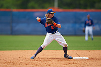 GCL Mets second baseman Nick Conti (27) throws to first base during a Gulf Coast League game against the GCL Marlins on August 11, 2019 at St. Lucie Sports Complex in St. Lucie, Florida.  GCL Marlins defeated the GCL Mets 3-2 in the second game of a doubleheader.  (Mike Janes/Four Seam Images)