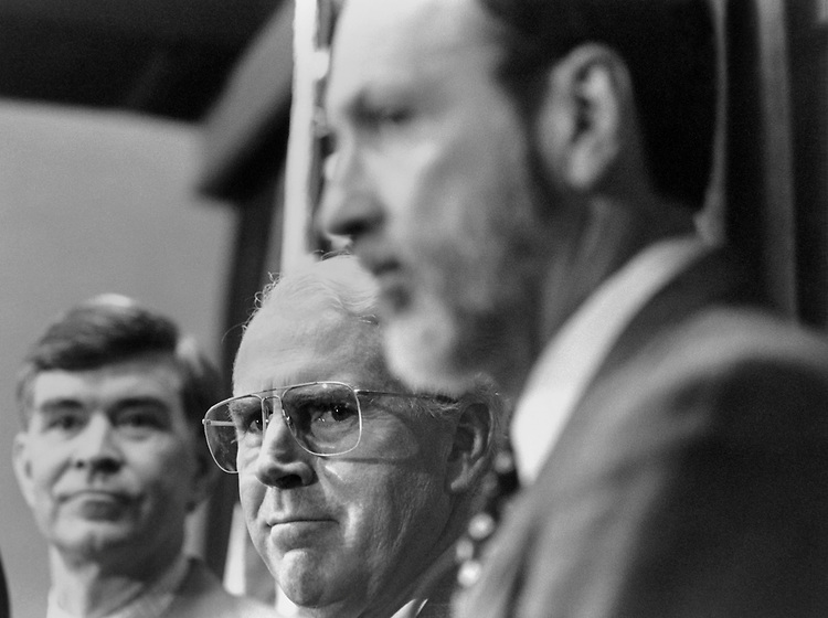 Rep. David Skaggs, D-Colo., Rep. Victor Herbert Fazio, D-Calif., House Democratic Caucus Chairman, and Rep. David E. Bonior, D-Mich., at a press conference about  the Deputy Secretary-General mailout being barried from delivery by the GOP. Febuary 1995 (Photo by Maureen Keating/CQ Roll Call)
