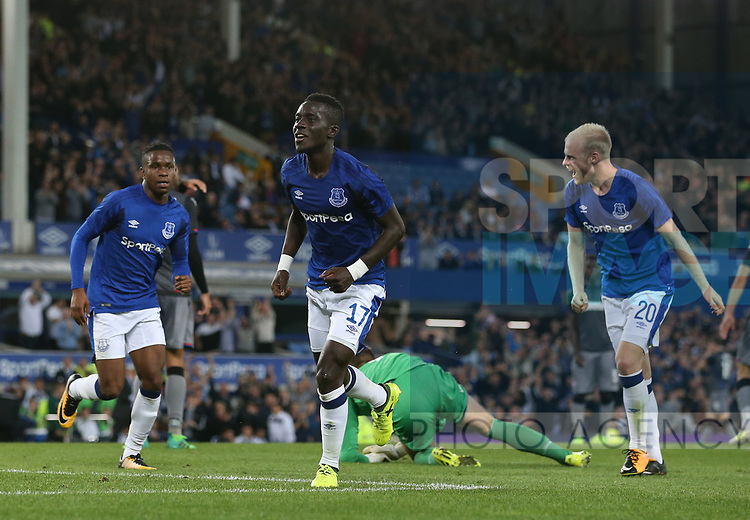 Idrissa Gueye of Everton (c) celebrates scoring the second goal during the Europa League Qualifying Play Offs 1st Leg match at Goodison Park Stadium, Liverpool. Picture date: August 17th 2017. Picture credit should read: David Klein/Sportimage