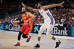 Ricky Rubio of Spain and Ronald Roberts Jr of Dominican Republic during the Friendly match between Spain and Dominican Republic at WiZink Center in Madrid, Spain. August 22, 2019. (ALTERPHOTOS/A. Perez Meca)