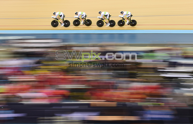 Picture by Alex Broadway/SWpix.com - 02/03/2016 - Cycling - 2016 UCI Track Cycling World Championships, Day 1 - Lee Valley VeloPark, London, England - Australia compete in the Men's Team Pursuit qualifying.