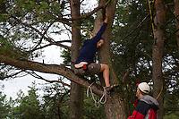 Climbing trees. Setting up antenna for Radioscouting. Photo: Magnus Fröderberg/Scouterna