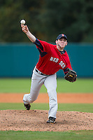 Matt Frisbee (88) of Enka High School in Candler, North Carolina playing for the Boston Red Sox scout team at the South Atlantic Border Battle at Doak Field on November 1, 2014.  (Brian Westerholt/Four Seam Images)