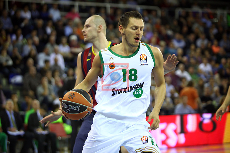 Euroleague Basketball-Regular Season Round 5.<br /> FC Barcelona vs Panathinaikos Athens: 78-69.<br /> Janis Blums vs Maciej Lampe.