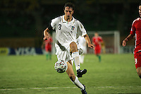 Italy's Antonio Mazzotta (3) keeps the ball moving against Hungary during the FIFA Under 20 World Cup Quarter-final match at the Mubarak Stadium  in Suez, Egypt, on October 09, 2009. Hungary won 2-3 in overtime.