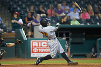 Jesse Medrano (10) of the West Virginia Power loses his bat as he follows through on his swing during the game against the Greensboro Grasshoppers at First National Bank Field on August 9, 2018 in Greensboro, North Carolina. The Power defeated the Grasshoppers 9-7 in game two of a double-header. (Brian Westerholt/Four Seam Images)