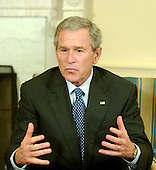 "Washington, D.C. - January 13, 2006 -- United States President George W. Bush makes remarks to the press after meeting with three business leaders to discuss raising money privately for those affected by the storms and natural disaster in Guatemala and Honduras.  The President said  ""The money will go for things such as education of displaced families or infrastructure rebuilding, with a particular emphasis on reforestation or on micro loans to help the economy get back on its feet in these countries.""<br /> Credit: Ron Sachs / Pool"