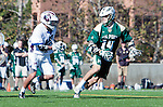 Los Angeles, CA 02/06/16 - Patrick Schneider (Cal Poly #14) and unidentified Loyola Marymount player(s)in action during the Cal Poly SLO Mustangs vs Loyola Marymount Lions MCLA Men's Lacrosse game.  Cal Poly defeated LMU 24-5