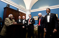 Archbishop Desmond Tutu speaks at a reception hosted by Representative James Clyburn at the US Capitol prior to the US Soccer Foundation Gala held at City Center in Washington, DC.