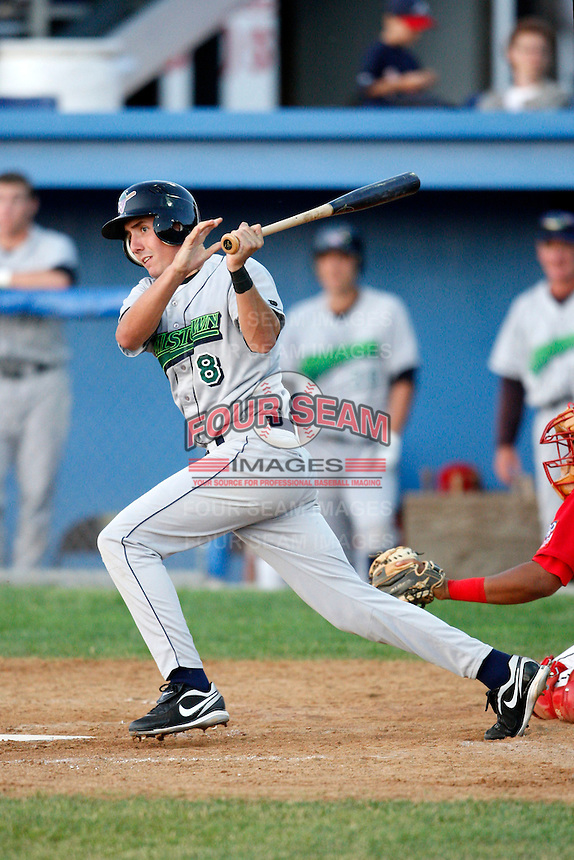 June 26, 2009:  Third Baseman Chase Austin of the Jamestown Jammers at bat during a game at Dwyer Stadium in Batavia, NY.  The Jammers are the NY-Penn League Short-Season Class-A affiliate of the Florida Marlins.  Photo by:  Mike Janes/Four Seam Images