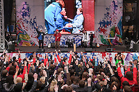 Moscow, Russia, 31/03/2010..Images of the Moscow metro bombings on a giant screen at a government sponsored rally against terrorism, organised by a range of pro-Kremlin youth movements, two days after the suicide bombings that killed 39 and injured 82 on the Moscow metro system.