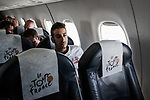 Fabio Aru (ITA) and all the teams on board the flight to the final Stage 21 of the 2019 Tour de France running 128km from Rambouillet to Paris Champs-Elysees, France. 28th July 2019.<br /> Picture: ASO/Thomas Maheux | Cyclefile<br /> All photos usage must carry mandatory copyright credit (© Cyclefile | ASO/Thomas Maheux)