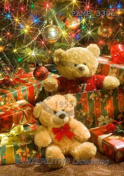 Marek, CHRISTMAS ANIMALS, WEIHNACHTEN TIERE, NAVIDAD ANIMALES, teddies, photos+++++,PLMP3301,#Xa# under Christmas tree,