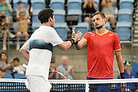 7th January 2020; Sydney Olympic Park Tennis Centre, Sydney, New South Wales, Australia; ATP Cup Australia, Sydney, Day 5; Great Britain versus Moldova; Cameron Norrie of Great Britain versus Alexander Cozbinov of Moldova; Cameron Norrie of Great Britain shakes hands after defeating Alexander Cozbinov of Moldova - Editorial Use