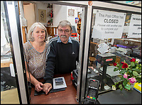 BNPS.co.uk (01202 558833)<br /> Pic:  PhilYeomans/BNPS<br /> <br /> Stamped Out - Steve and Gill Pile have been forced to close the Charmouth Post Office.<br /> <br /> One of Britain's oldest post offices has permanently closed after 224 years due to the government's 'disgraceful and illogical' modernisation of the service.<br /> <br /> The popular branch, which was run by veteran postmasters Steve and Gill Pile, had served the seaside community of Charmouth in Dorset since 1795.<br /> <br /> But they have decided to retire after the Post Office Ltd insisted the post office was downsized and moved to another shop in the village under their 'Network Transformation Scheme'.<br /> <br /> Since Post Office Ltd have so far not been able to find an alternative venue, the village of 1,300 people is currently without a post office which also provided its only free cash point service - leaving some villagers 'in tears' and wondering how they will cope.