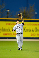 Jacksonville Suns outfielder Daniel Pertusati #2 catches a fly ball during a game against the Pensacola Blue Wahoos on April 15, 2013 at Pensacola Bayfront Stadium in Pensacola, Florida.  Jacksonville defeated Pensacola 1-0 in 11 innings.  (Mike Janes/Four Seam Images)