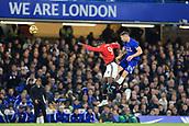 5th November 2017, Stamford Bridge, London, England; EPL Premier League football, Chelsea versus Manchester United; Gary Cahill of Chelsea battles to win a header against Romelu Lukaku of Manchester Utd