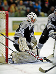 7 February 2009: Providence College Friars' goaltender Alex Beaudry, a Freshman from Cumberland, Ontario, in action against the University of Vermont Catamounts during the second game of a weekend series at Gutterson Fieldhouse in Burlington, Vermont. The Catamounts swept the 2-game series notching 4-1 wins in both games. Mandatory Photo Credit: Ed Wolfstein Photo