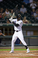 Luis Robert (9) of the Charlotte Knights at bat against the Scranton/Wilkes-Barre RailRiders at BB&T BallPark on August 13, 2019 in Charlotte, North Carolina. The Knights defeated the RailRiders 15-1. (Brian Westerholt/Four Seam Images)