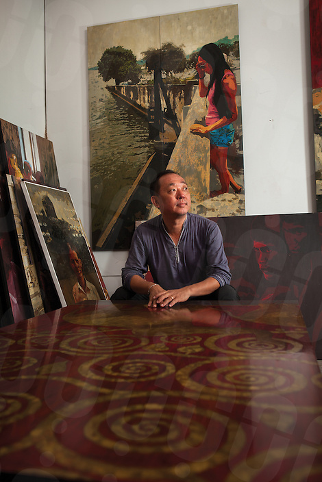 Aug. 09, 2012 - Siem Reap, Cambodia. Artist Lim Muy Theam in his gallery. © Nicolas Axelrod / Ruom