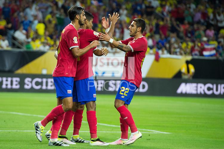 Action photo during the match Colombia vs Costa Rica, Corresponding to  Group -A- of the America Cup Centenary 2016 at NRG Stadium.<br /> <br /> Foto de accion durante el partido Colombia vs Costa Rica, Correspondiente al Grupo -A- de la Copa America Centenario 2016 en el Estadio NRG , en la foto: (i-d) Bryan Ruiz y Johan Venegas celebran gol de Costa Rica<br /> <br /> <br /> 11/06/2016/MEXSPORT/Jorge Martinez.