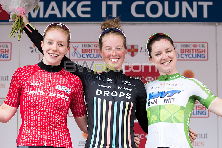 Picture by Alex Whitehead/SWpix.com - 14/05/2017 - Cycling - 2017 HSBC UK | National Women&rsquo;s Road Series - Lincoln Grand Prix - <br /> 1. Drops' Alice Barnes<br /> 2. Team Breeze's Emily Nelson<br /> 3. WNT's Lydia Boylan