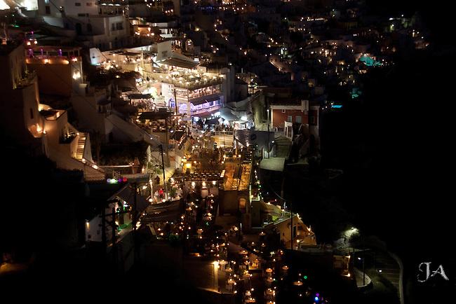 Fira, Santorini, Greece at night
