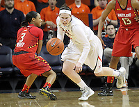 Virginia guard Lexie Gerson (14) steals the ball from Maryland guard Brene Moseley (3) during the game Thursday in Charlottesville, VA. Virginia defeated Maryland 86-72. Photo/The Daily Progress/Andrew Shurtleff