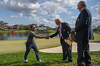 Francesco Molinari (ITA) shakes hands with the tournament leadership as he departs 18 following round 4 of the Arnold Palmer Invitational at Bay Hill Golf Club, Bay Hill, Florida. 3/10/2019.<br /> Picture: Golffile | Ken Murray<br /> <br /> <br /> All photo usage must carry mandatory copyright credit (© Golffile | Ken Murray)