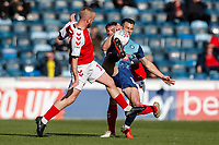 Fleetwood Town's Paddy Madden competing with Wycombe Wanderers' Matthew Bloomfield <br /> <br /> Photographer Andrew Kearns/CameraSport<br /> <br /> The EFL Sky Bet League One - Wycombe Wanderers v Fleetwood Town - Saturday 4th May 2019 - Adams Park - Wycombe<br /> <br /> World Copyright © 2019 CameraSport. All rights reserved. 43 Linden Ave. Countesthorpe. Leicester. England. LE8 5PG - Tel: +44 (0) 116 277 4147 - admin@camerasport.com - www.camerasport.com