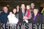 CHRISTENING: Aoife Kate O'Connor from Ballymacelligott who was christened on Sunday in The Immaculate Conception Church, Rathass with her parents and godparents after her christening in The Earl of Desmond Hotel, Tralee. L-r: James O'Connor, Aoife Kate(Baby) and mary O'Connor, Noreen McElligott, Mike and Sarah O'Connor, Gene McElligott and Frances O'Callaghan....
