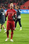 03.11.2018, BayArena, Leverkusen, GER, 1. FBL,  Bayer 04 Leverkusen vs. TSV 1899 Hoffenheim,<br />  <br /> DFL regulations prohibit any use of photographs as image sequences and/or quasi-video<br /> <br /> im Bild / picture shows: <br /> Oliver Baumann Torwart (Hoffenheim #1), freut sich vor den Fans &uuml;ber den Sieg.. <br /> Foto &copy; nordphoto / Meuter