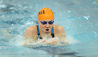 Cherokee's Jaime Bowne competes in the breaststroke during the 200 individual medley during a state semifinal swim meet against Bridgewater High School at the College of New Jersey Wednesday, February 18, 2015 in Ewing, New Jersey. Bowne won the race. (Photo by William Thomas Cain/Cain Images)