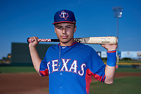 AZL Rangers shortstop Cody Freeman (33) poses for a photo before an Arizona League game against the AZL Athletics Gold on July 15, 2019 at Hohokam Stadium in Mesa, Arizona. The AZL Athletics Gold defeated the AZL Rangers 9-8 in 11 innings. (Zachary Lucy/Four Seam Images)